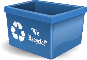 Plastic recycling box for green storage bins