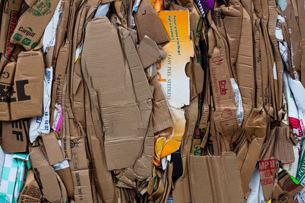 Cardboard ready for recycling
