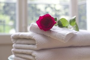 Towels and a rose