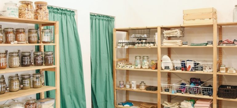 Storage with curtains.