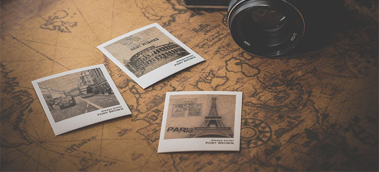 Three photos of famous locations on a world map