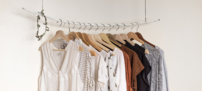 T-shirts on a rack.