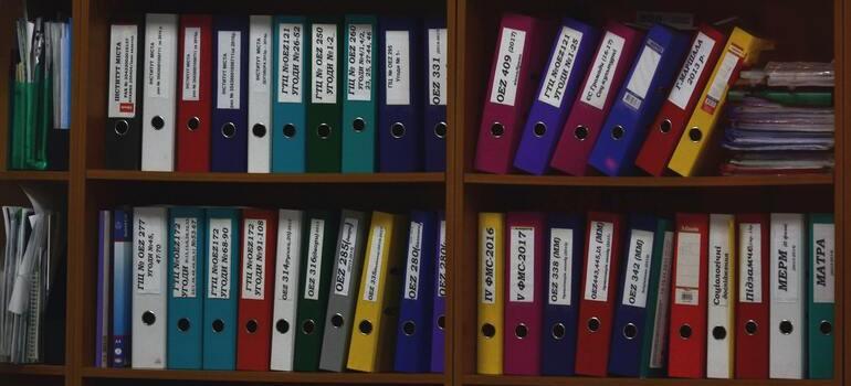 shelf with documents