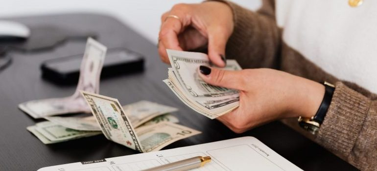 female person counting money