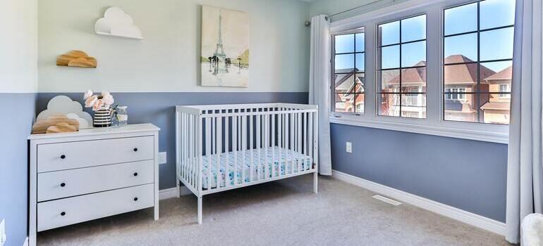 A blue and white nursery