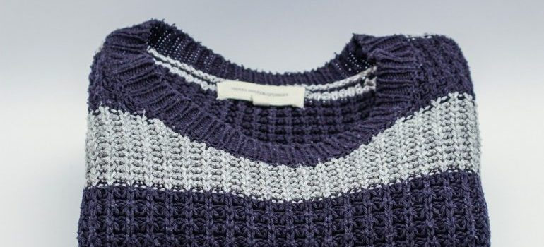 A blue and white jumper