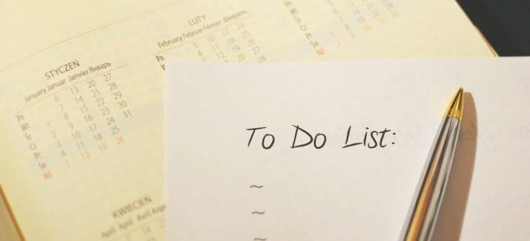 Pen on a calendar - to do checklist