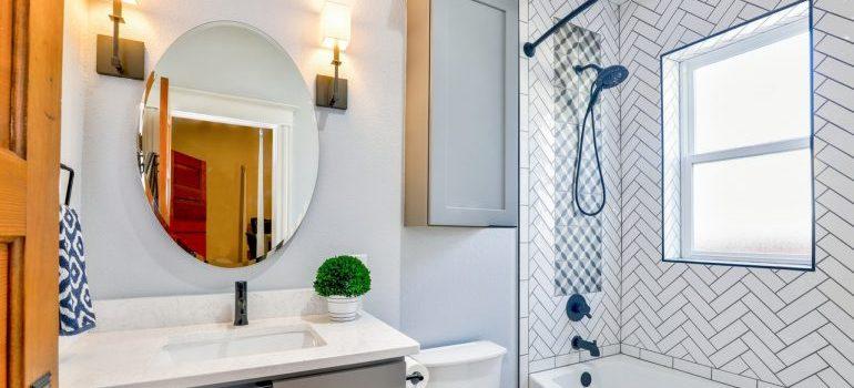 Oval mirror near toilet bowl