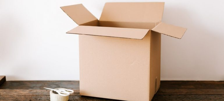 An opened moving box