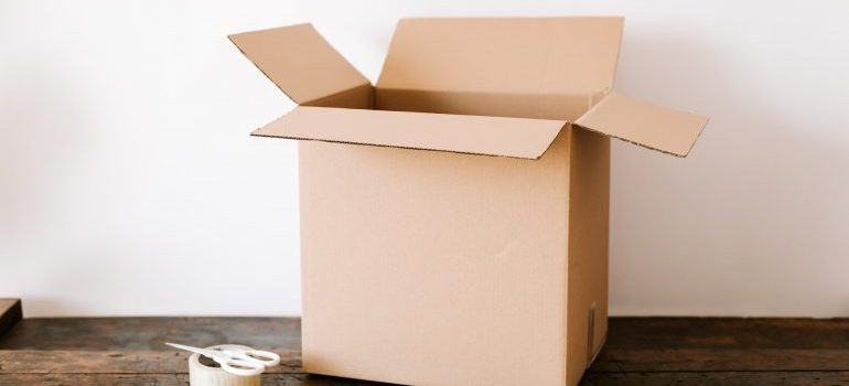 Opened cardboard box to pack your leather clothes for storage