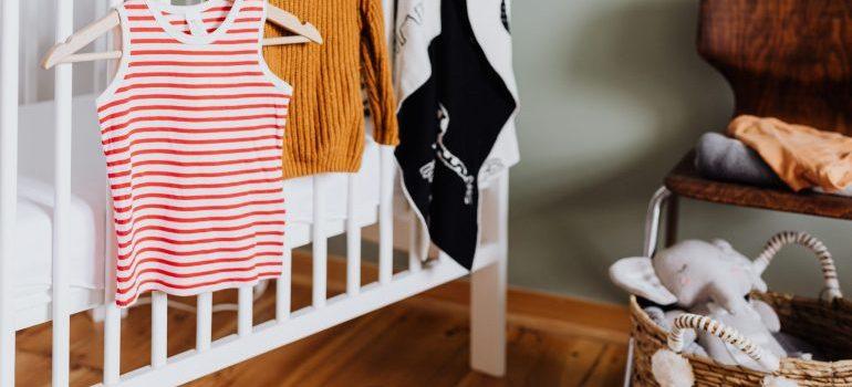 Baby stuff on the crib