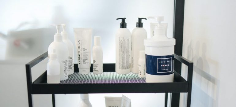 Supplies for a beauty salon.