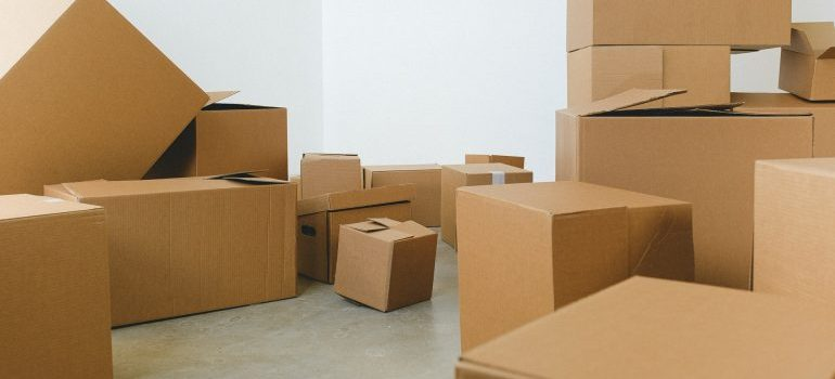 Various sized cardboard boxes.